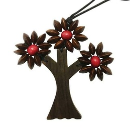 Three Branches Wooden Tree Necklace Brown