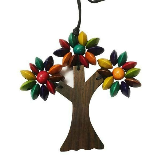 Three Branches Wooden Tree Necklace Multi
